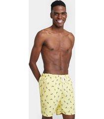 bermuda para hombre playa peces color amarillo, talla l