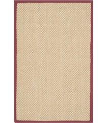 "safavieh natural fiber maize and burgundy 2'6"" x 4' sisal weave area rug"
