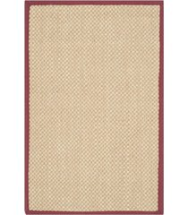 "safavieh natural fiber maize and burgundy 2'6"" x 4' sisal weave rug"