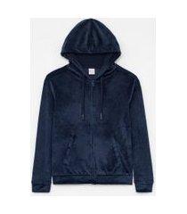 jaqueta básica esportiva plush com capuz e bolso canguru | get over | azul | m