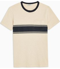 mens selected homme cream block textured t-shirt