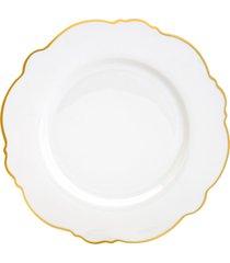 conjunto 6 pratos rasos de porcelana maldivas branco com fio dourado wolff 28cm