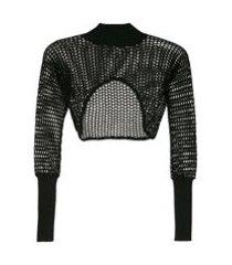 reinaldo lourenço top cropped crochê com transparência - preto