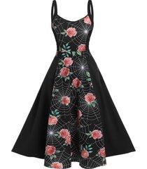 floral spider web print high waist cami dress