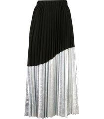 nude asymmetrical pleated skirt - black