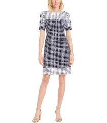 jm collection printed boat-neck sheath dress, created for macy's