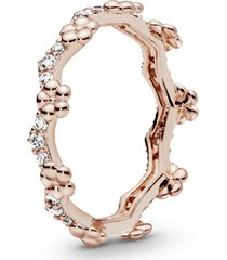 anel pandora rose tiara de flores
