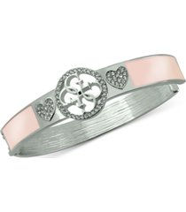 guess silver-tone pave heart & logo bangle bracelet