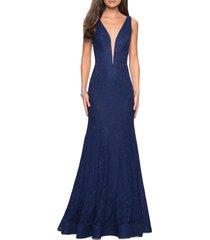 women's la femme plunge neck sparkle lace mermaid gown, size 6 - blue