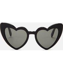 saint laurent women's loulou heart shaped sunglasses - black