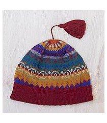 100% alpaca knit hat, 'sierra rainbow' (peru)