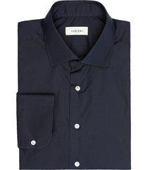 camicia da uomo su misura, canclini, easy iron popeline blu scuro, quattro stagioni | lanieri