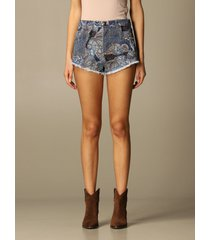 etro short etro paisley patterned denim shorts