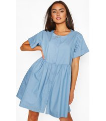 chambray mini jurk met knopen, middenblauw