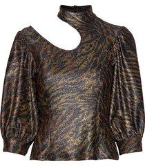 lurex jersey blouse lange mouwen bruin ganni