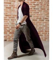 cárdigan de abrigo largo suelto cómodo liso informal de moda para hombre
