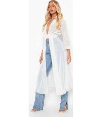 dobby mesh maxi blouse met knopen, white