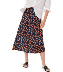 women's j.crew poppy fields pull-on slip skirt, size large - blue