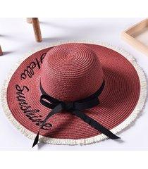 cappelli da sole da spiaggia a forma di cappello da passamontagna con ricamo cappello da donna a tesa larga in tinta unita