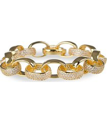 18k goldplated & cubic zirconia oval chain link bracelet