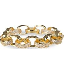18k goldplated & cubic zirconia oval chain link bracelet
