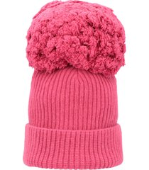 alberta ferretti knitted wool beanie with pom-pom