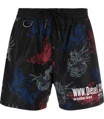 diesel dragon-print drawstring swim shorts - black