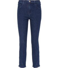 'ruby' pleated cuff cropped cigarette jeans