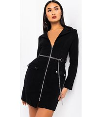 akira call you up long sleeve chain mini dress