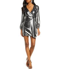 women's french connection metallic long sleeve dress, size 0 - metallic