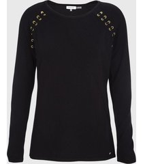 sweater lace-up negro calvin klein