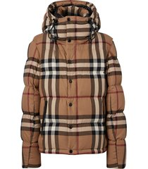 burberry convertible check puffer jacket - brown