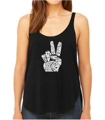 la pop art women's premium word art flowy tank top- peace fingers