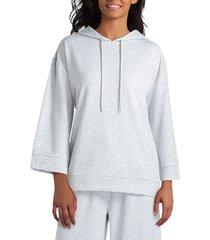 h halston women's drop shoulder hoodie - heather grey - size s