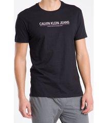 camiseta masculina regular logo básico preta calvin klein jeans - gg