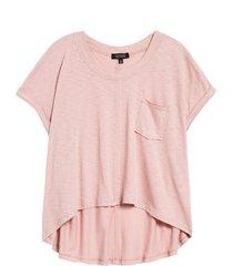 women's la la land creative co high/low pocket t-shirt, size small - purple