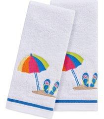 "martha stewart collection beach scene 2-pc. 11"" x 18"" fingertip towel set, created for macy's bedding"