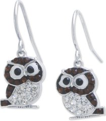 giani bernini crystal owl drop earrings in sterling silver, created for macy's