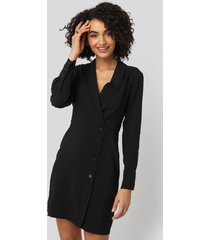 trendyol double breasted collar mini dress - black