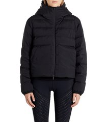 women's moncler anwar logo water resistant down puffer jacket, size 4 - black