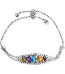 effy multi-gemstone bolo bracelet (4-7/8 ct. t.w.) in sterling silver & 18k gold