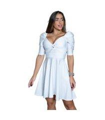 vestido miss misses de cirrê com manga princesa branco