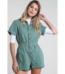 macaquinho de sarja feminino com bolsos manga curta verde
