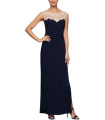 alex evenings petite embroidered illusion-yoke gown