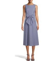 anne klein gingham cotton midi dress, size medium in distant mountain/white at nordstrom