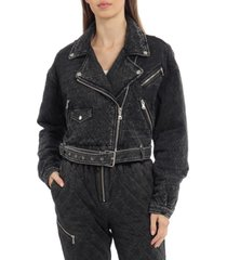 avec les filles cropped french terry quilted biker jacket