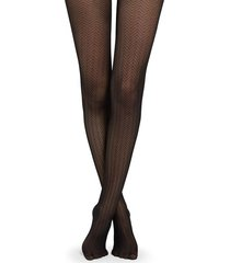 calzedonia zig zag tulle effect tights woman black size 3/4