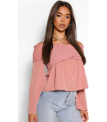 woven off the shoulder shirred top, mauve