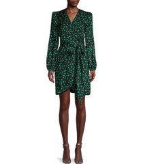 cynthia rowley women's rocky wrap dress - green black - size 2