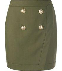 balmain military mini skirt - green
